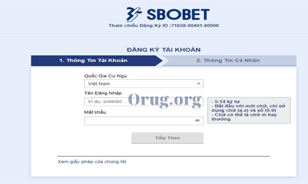 Form đăng ký Sbobet
